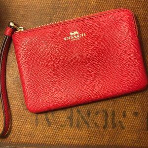 Red Coach Clutch Purse / Wallet